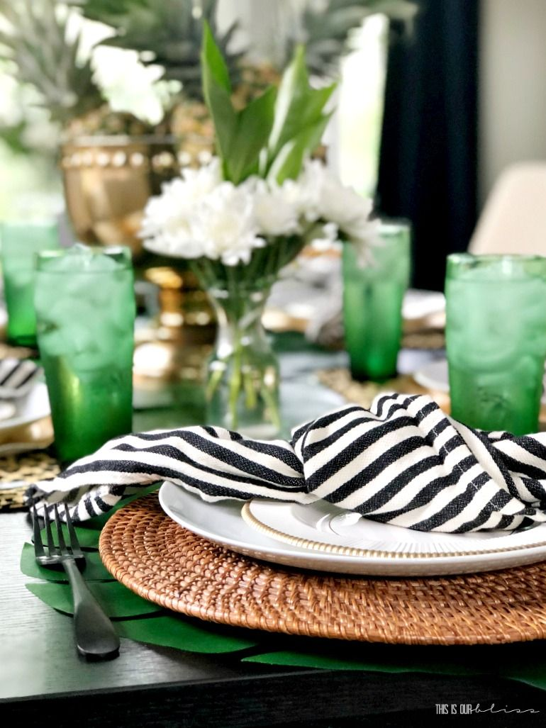 Tropical Summer Table With Pineapples Palm Leaves Leopard Print Summer Table Decorations Spring Table Decor Summer Table Settings