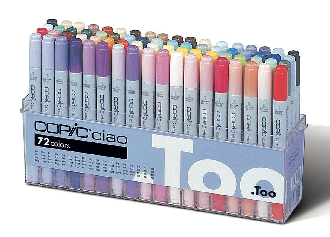 Art color markers - Copic Premium Artist Markers 72 Color Set A Intermediate Level