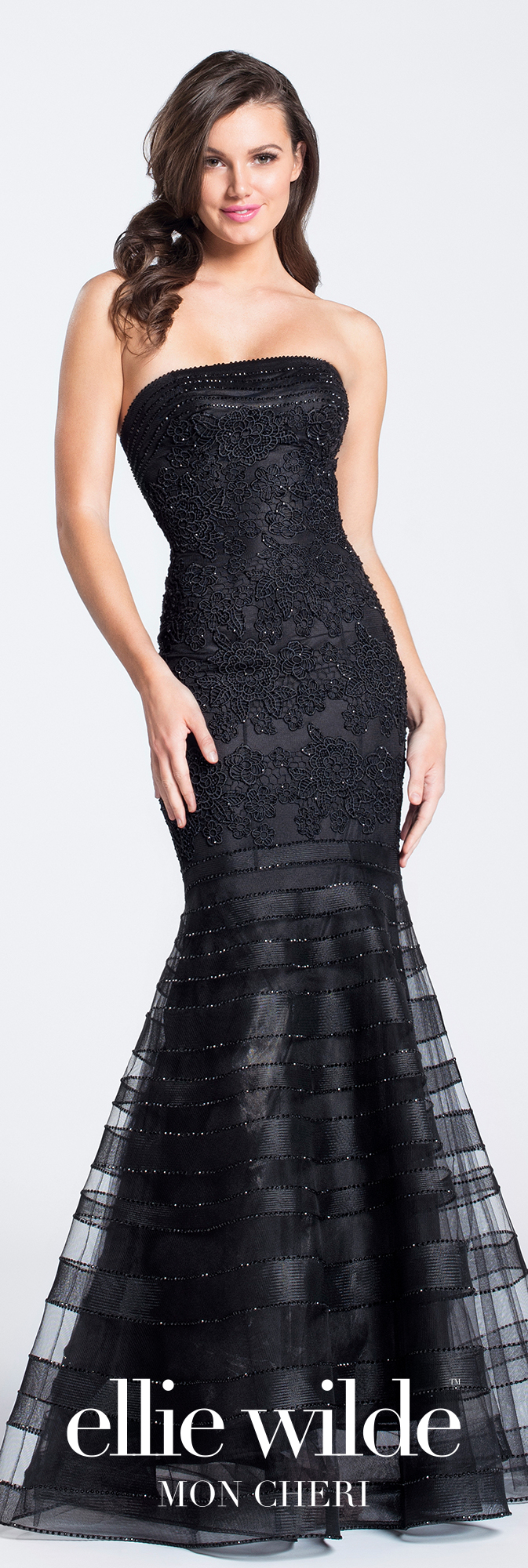 Long black lace strapless prom dress ellie wilde ew