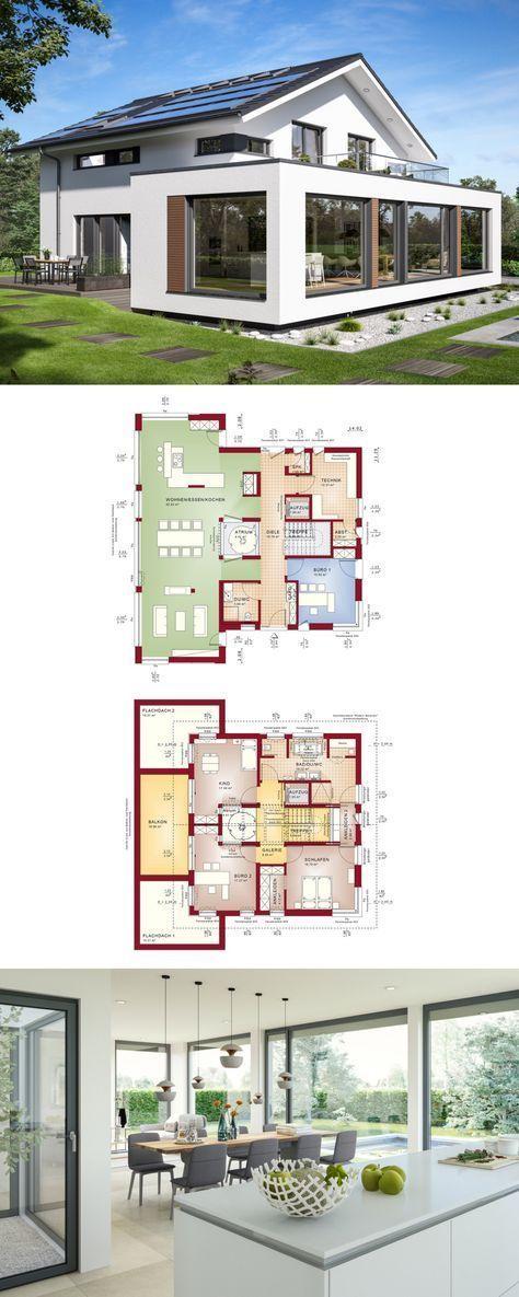 Designhaus mit satteldach und atrium haus concept m 210 for Atriumhaus bauen