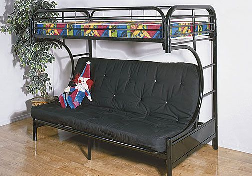 Black Futon Bunk Bed Metal Furniture Design Ideas for Kids