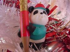PANDA in cap w big PENCIL Super Sharp SON HALLMARK CHRISTMAS ORNAMENT MIB 1995