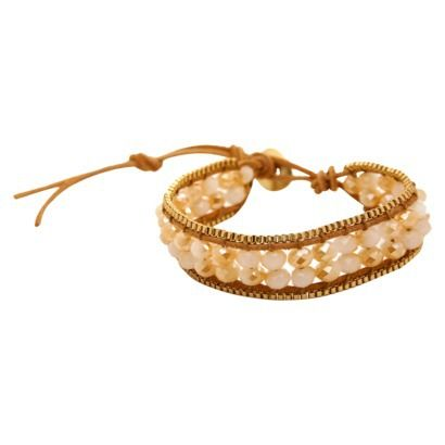 Women's Beaded Cord Bracelet with Button Closure - Natural