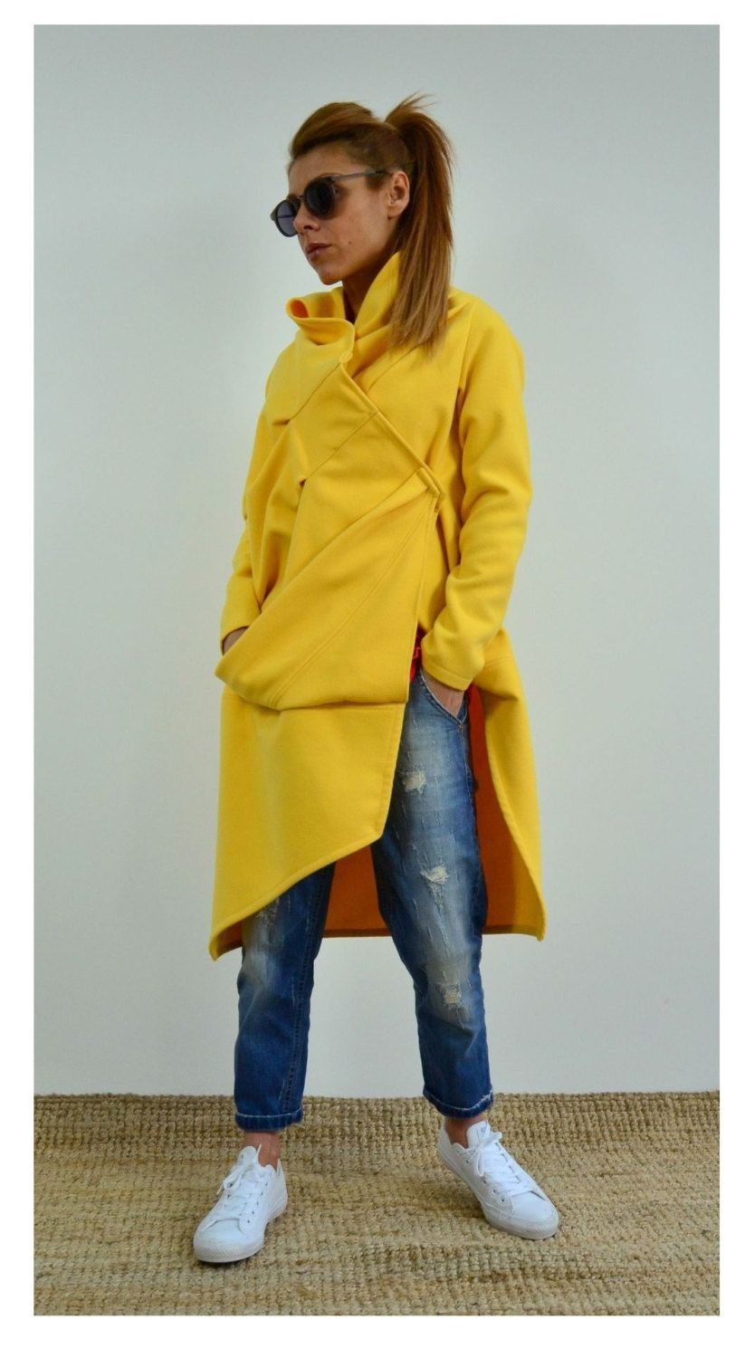 5bd1d5e66f670 Yellow extravagant coat   Maxi Asymmetric coat   Winter Wool Cashmere blend  by ClothesByLockerRoom on Etsy