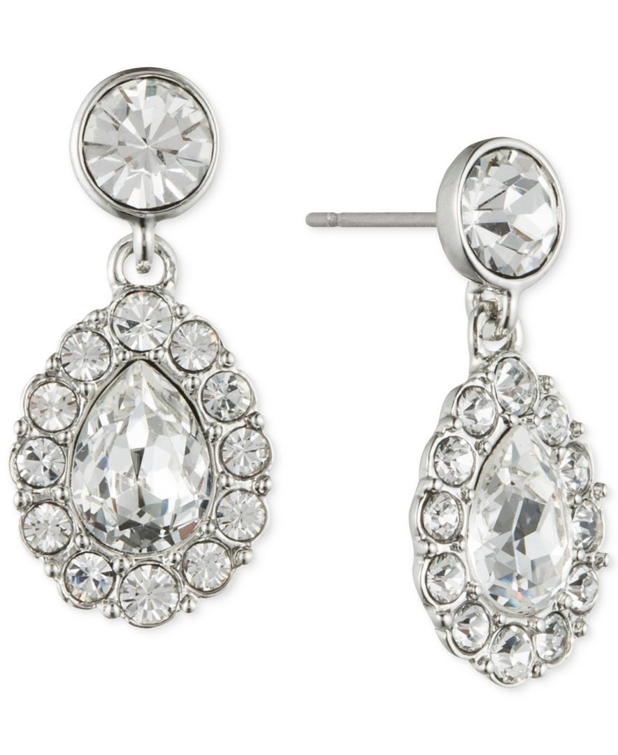 Givenchy Crystal Accent Pear-Shaped Drop Earrings