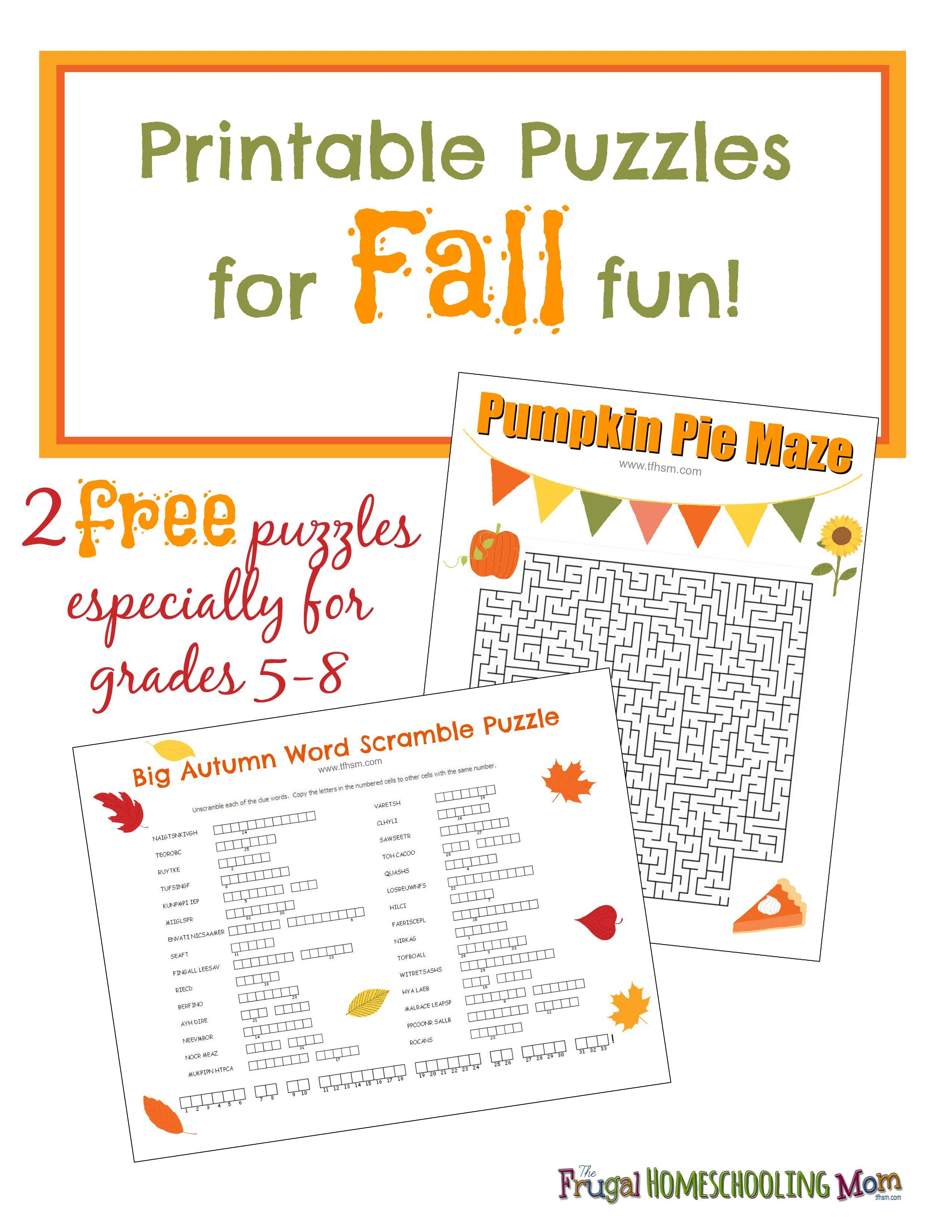 Free Fall Printable Puzzles