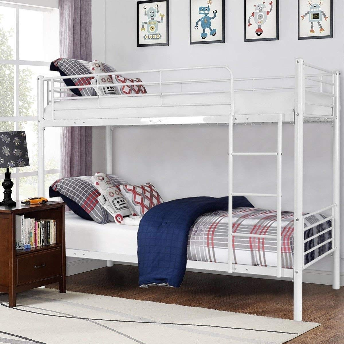 Metal Twin Over Twin Bunk Beds With Ladder In 2020 Bunk Bed