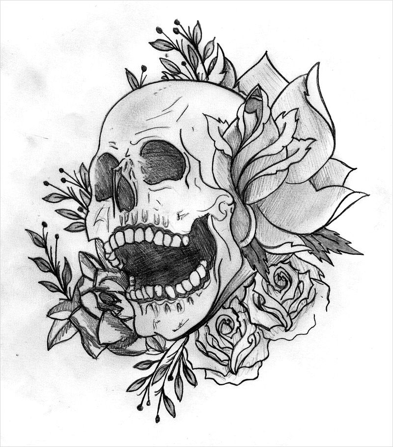 Dessin tatouage t te de mort yg6re3zs tattoo pinterest - Dessins tete de mort ...