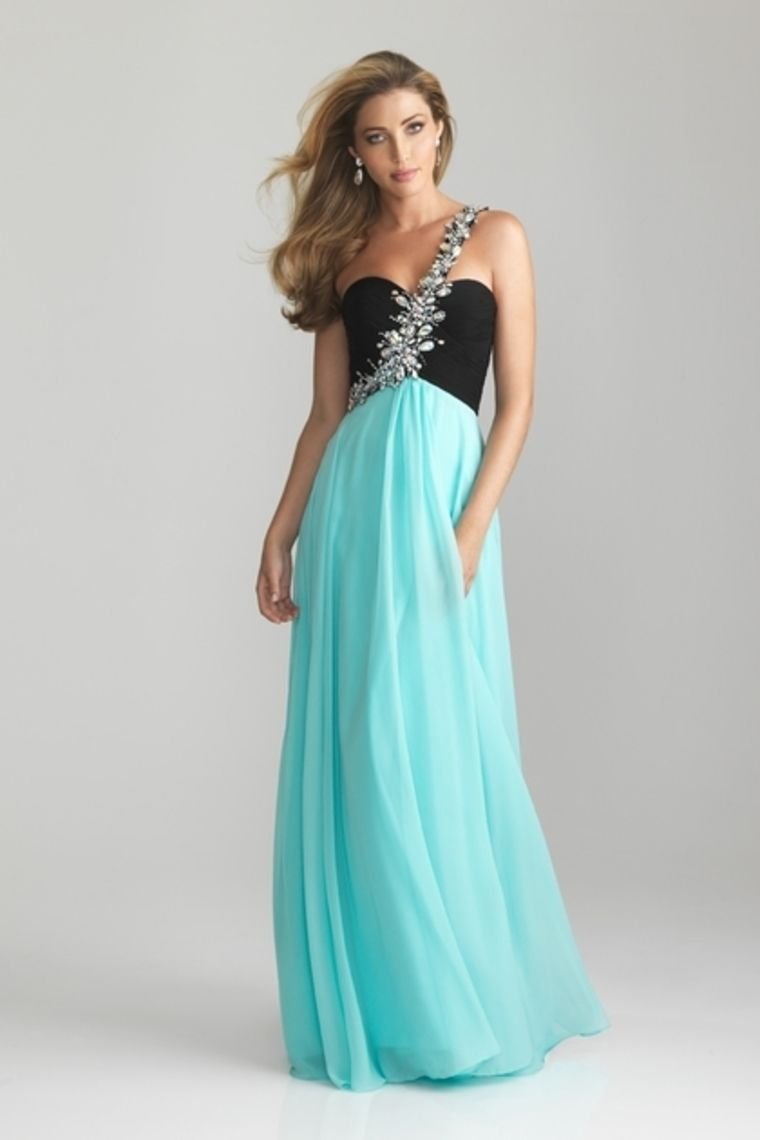 2014 Prom Dress Empire Waist One Shoulder Floor Length Black Top Ice ...