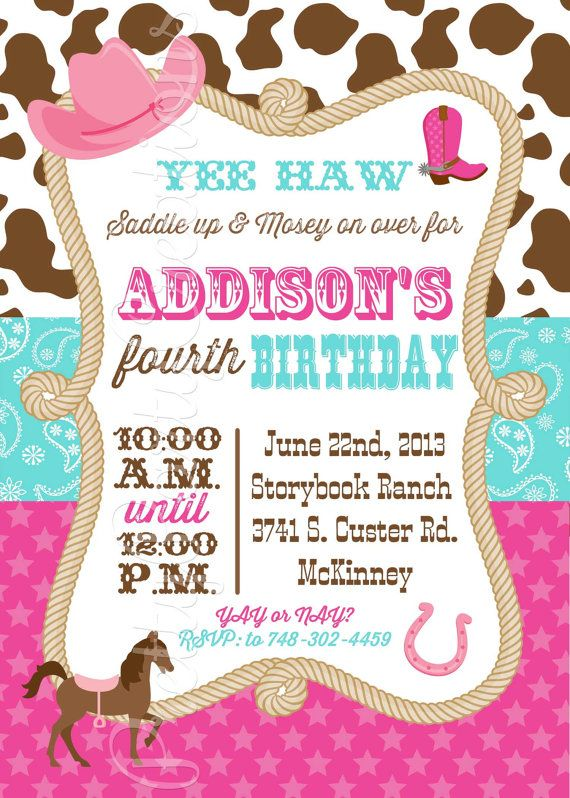 Cowgirl invitation you print pink and aqua macis 1st birthday cowgirl invitation you print pink and by prettypartycreations cowgirl birthday parties cowgirl party birthday filmwisefo