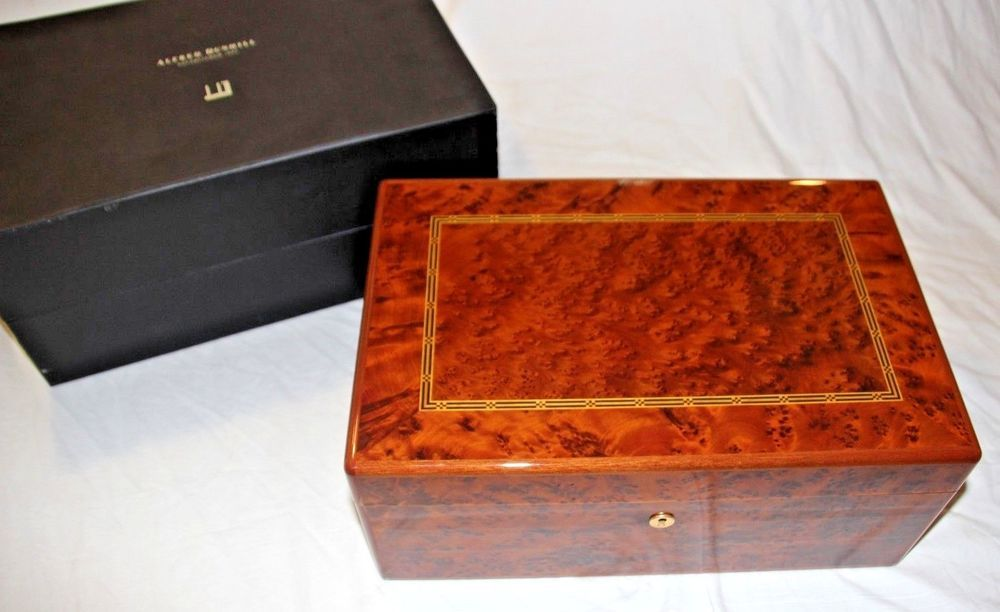 Vintage Dunhill Burl Wood Cedar Lined Humidor Cigar Box Gorgeous