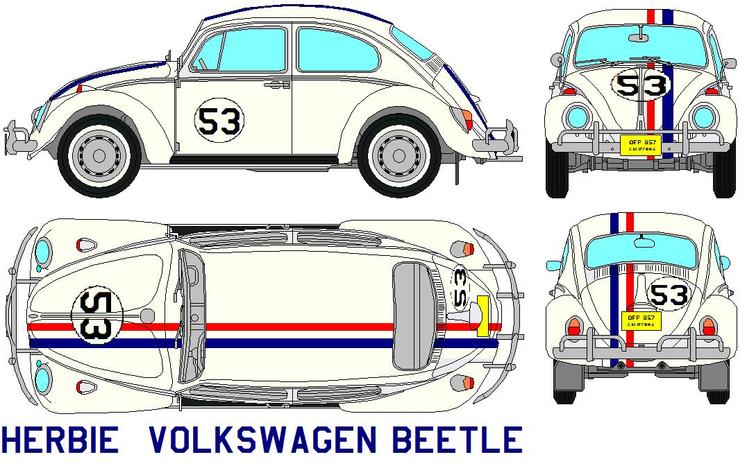 Herbie Volkswagen Beetle Volkswagen Beetle Volkswagen Vw Art