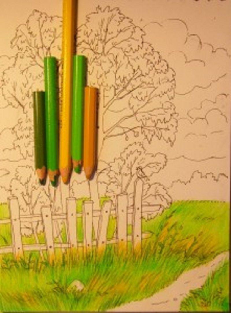 Рисунок осень пошагово цветными карандашами