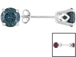 2.04ctw Round Lab Created Alexandrite 14k White Gold Stud Earrings Web Only JTV Price: $99.99