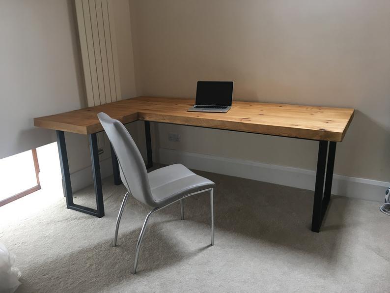 Industrial Reclaimed Style L Shape Executive Desk Etsy L Shaped Executive Desk Industrial Style Desk Custom Desk