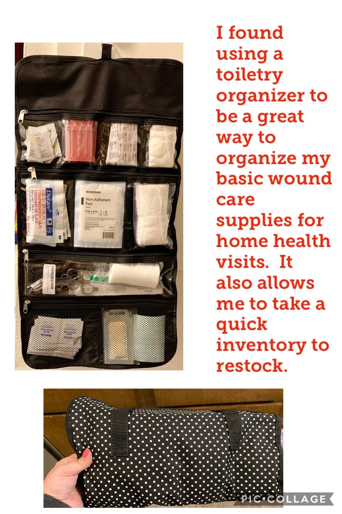 Home health supplies organizer for nurses home health