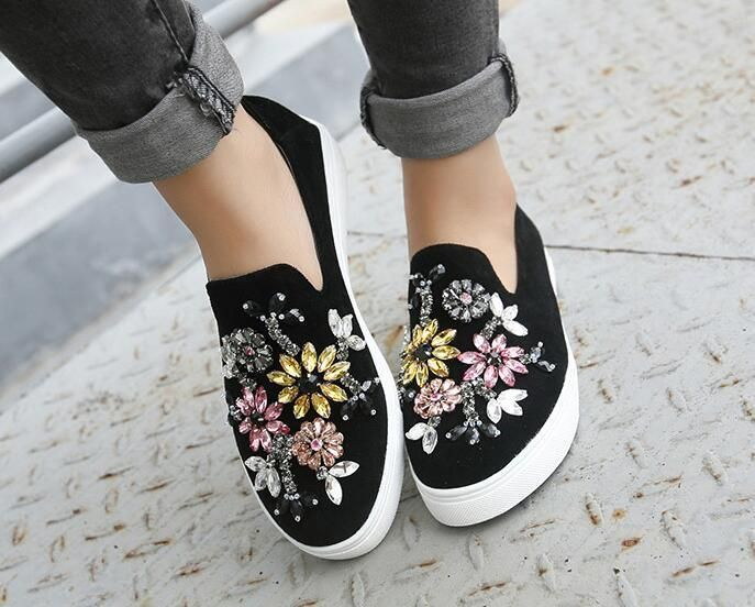 Womens Floral Rhinestones Canvas Sneakers High Top Flats Casual Shoes Platform