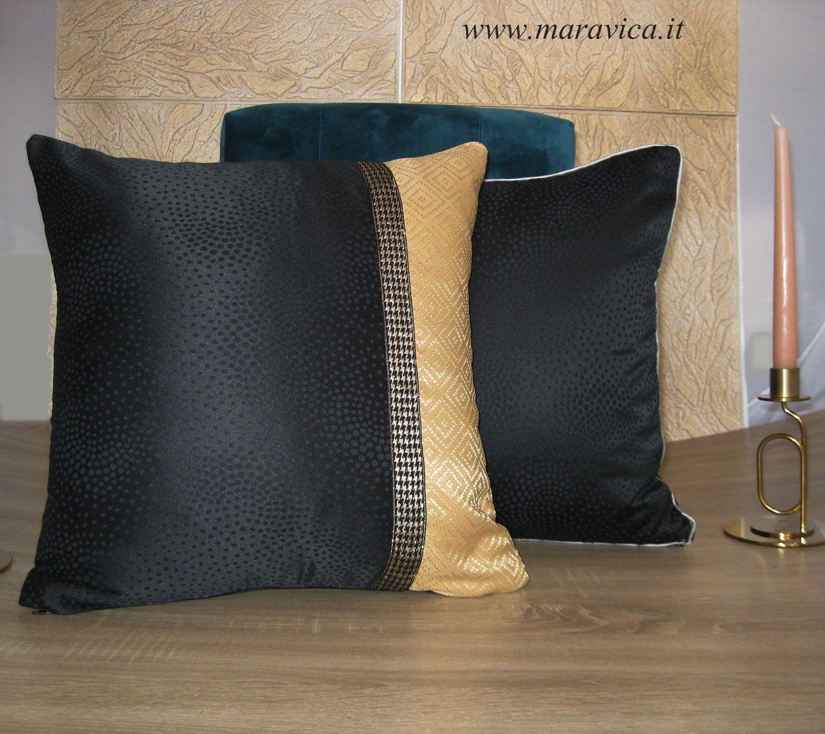Cuscino arredo divano moderno e glam bicolore nero e oro nel 2019 ...