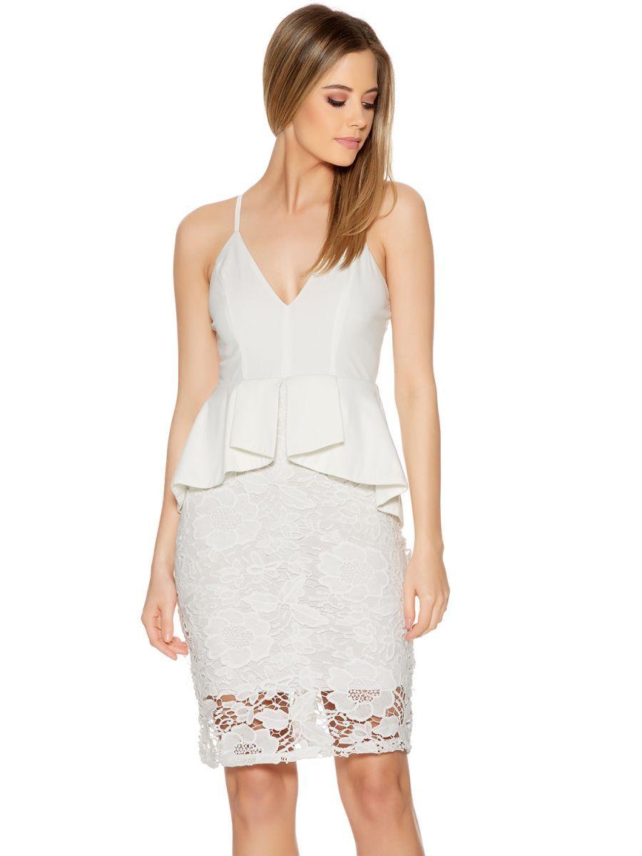 21eb58d3de57 White Crochet Strap Peplum Midi Dress - Quiz Clothing