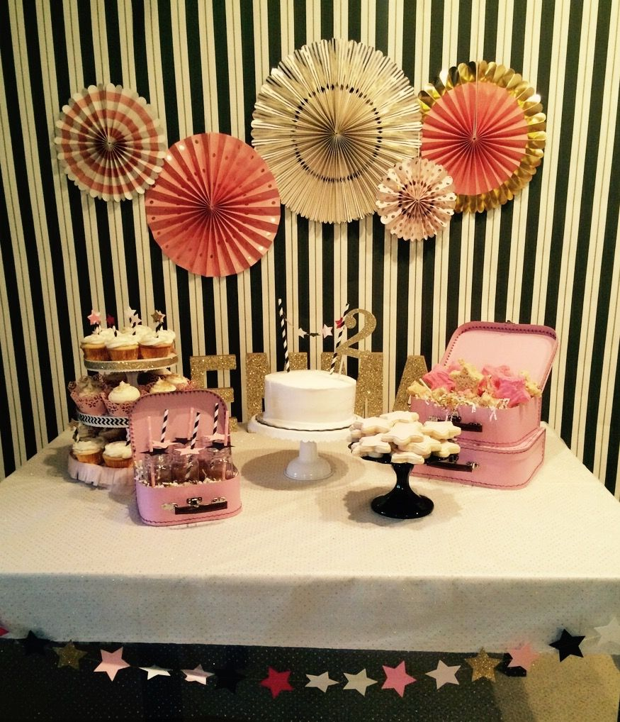 Black and Gold Stripe Wallpaper Used as Backdrop for this Twinkle Twinkle Little Star Birthday