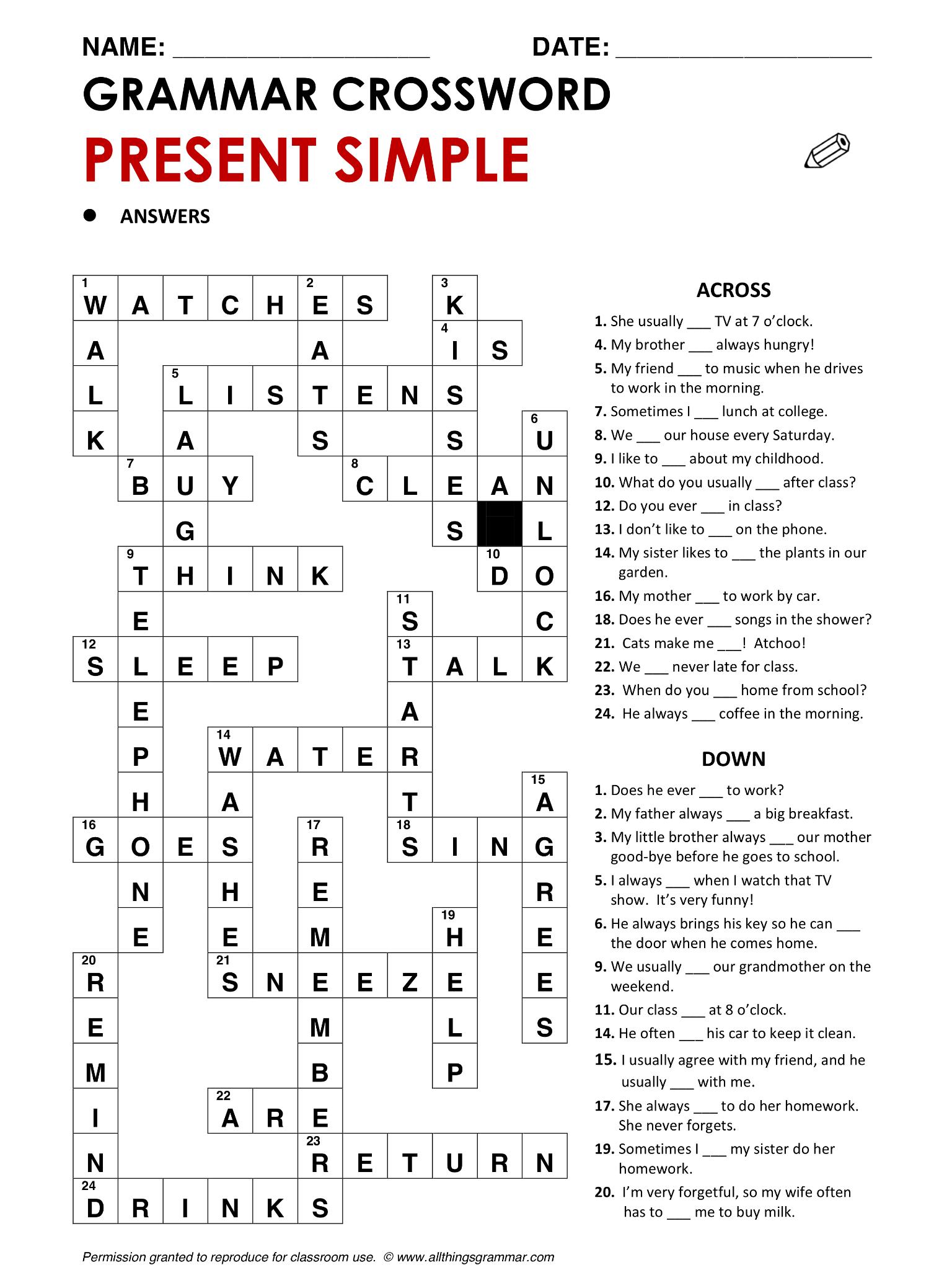 Grammar Crossword Present Simple Resuelto