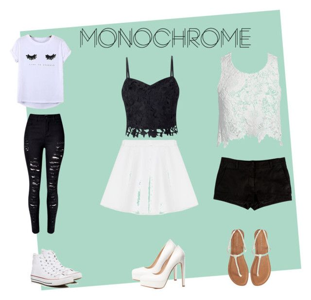 """""""Plain old Monochrome"""" by tally-stew ❤ liked on Polyvore featuring Aéropostale, RED Valentino, Lipsy, Chicnova Fashion, WithChic, L'Agence, Sans Souci, Converse, Charlotte Russe and monochrome"""