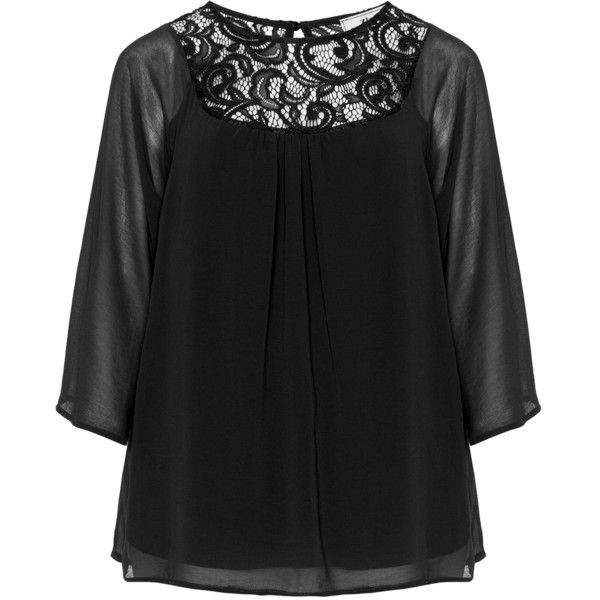 a5251244656 Zizzi Black Plus Size Chiffon lace blouse ( 53) ❤ liked on Polyvore  featuring tops