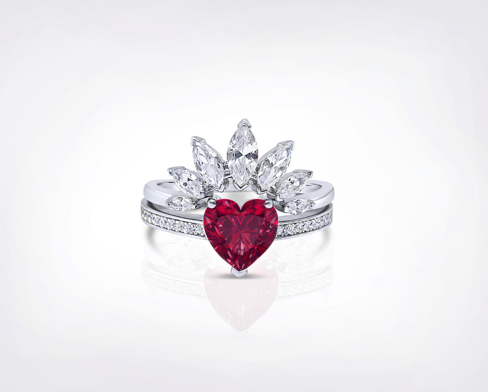 Queen Of Hearts 2 66ct Ruby Sterling Silver Ring Set Alice In