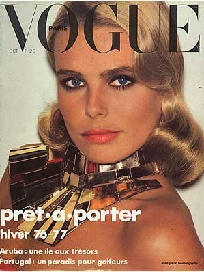 """Margaux Hemingway on the cover of French Vogue, October 1976. Born Margot Louise Hemingway, she was one of the first Supermodels of her time, gaining the coveted moniker by American Vogue in 1975. Fabergé awarded her a million-dollar contract as the spokesmodel for Babe perfume, the first $1M contract ever awarded to a fashion model. She appeared on the covers of Vogue, Elle, Cosmo, Harper's Bazaar, & a 1975 cover of Time which dubbed her """"one of the new beauties."""" #margaux_hemingway…"""