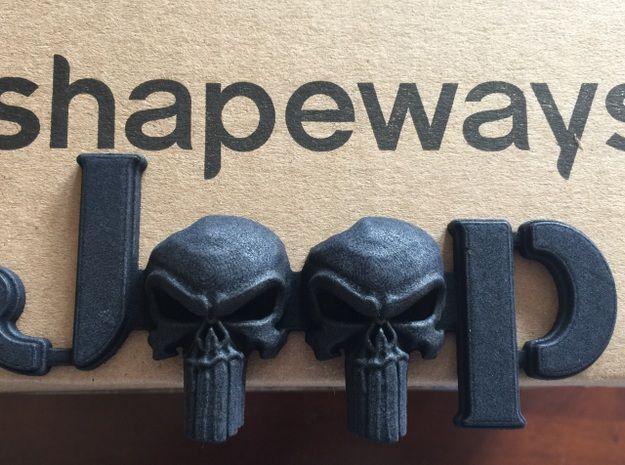 3D Punisher Skull Emblem for Jeeps (JK-Willys Font 3d printed