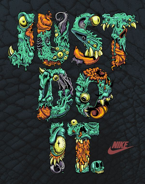 NIKE Just Do It. Monster Type on Behance posters