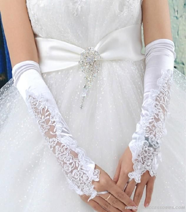 Satin Lace Fingerless Gloves