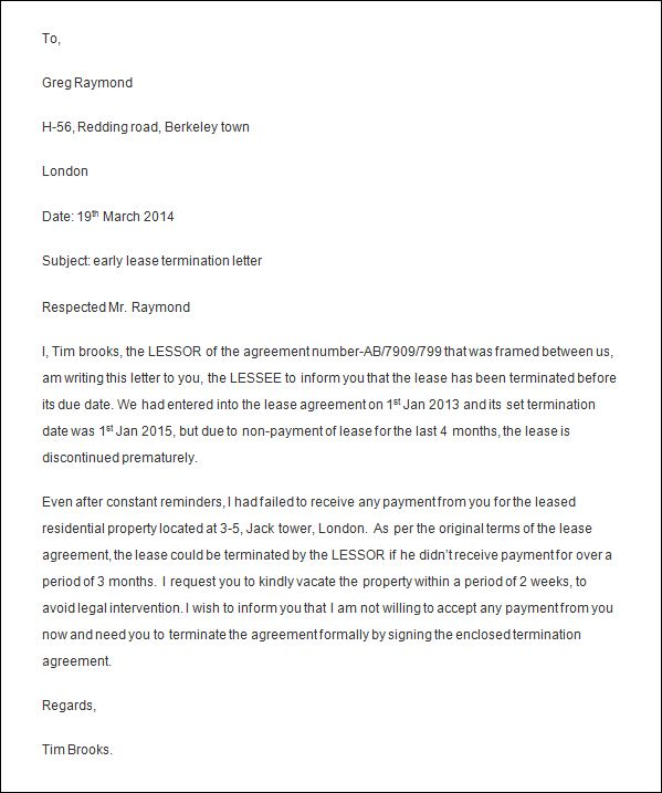 Sample Termination Letter Example Of A Termination Letter
