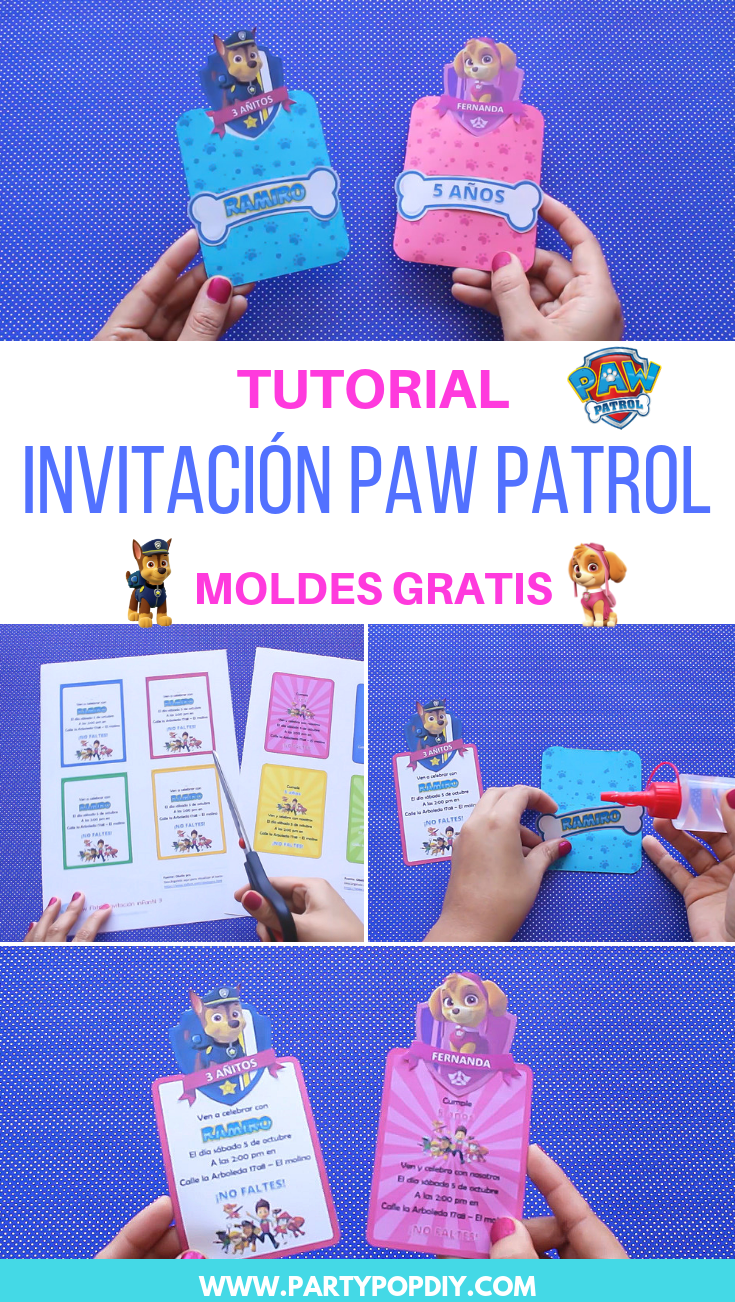 Paw Patrol Invitación Moldes Party Pop Invitacion