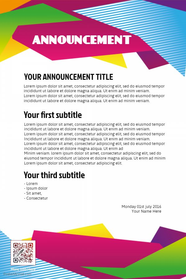 company announcement templates