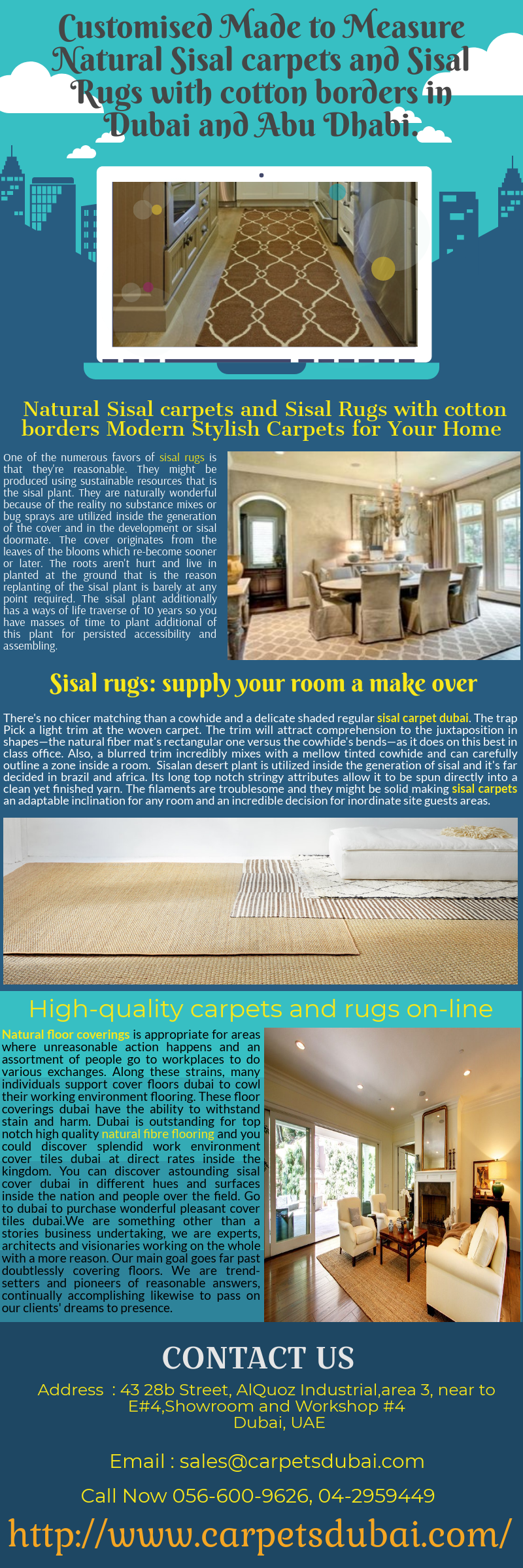 Customised Made To Measure Natural Sisal Carpets And Rugs With Cotton Borders In Dubai