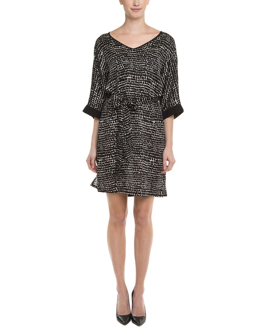 Josie Natori Black Paint Brush Silk Dress is on Rue. Shop it now.