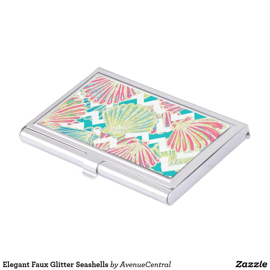 Elegant faux glitter seashells business card holder glam