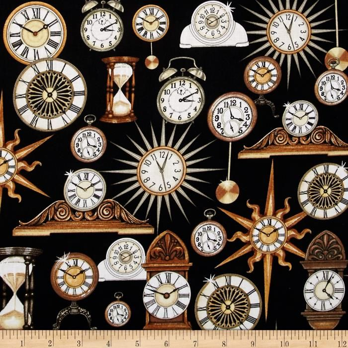 Timeless Clocks Black from @fabricdotcom Designed by Dan Morris ... : quilting treasures - Adamdwight.com
