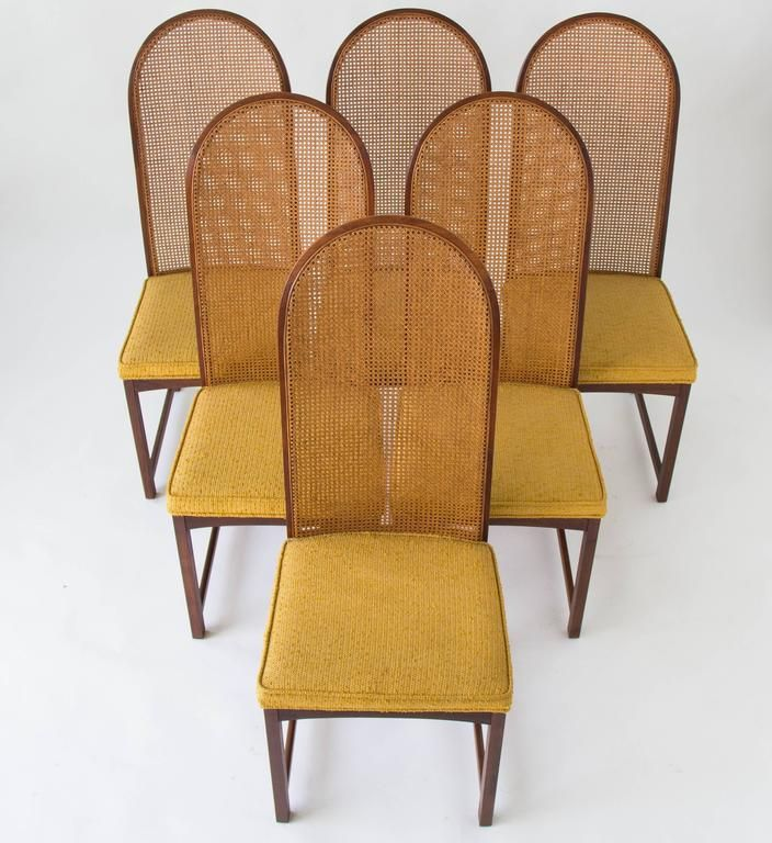 Set Of Six Highbacked Cane Dining Chairsmilo Baughman Captivating Cane Dining Room Chairs Inspiration Design