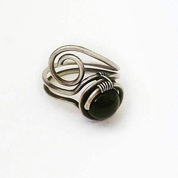 Stackable Gemstone Rings Crystal Rings Handmade Rings Black Onyx Wire Wrapped Ring