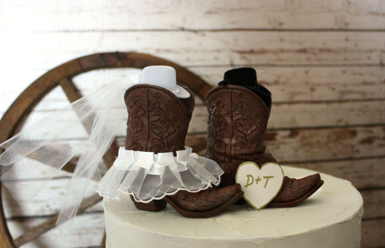 Cowboy boots wedding cake topper Rustic wedding Western