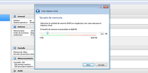 Segundo paso: En el siguiente paso asignaremos la cantidad de memoria RAM que necesitemos en la maquina. Este paso es delicado, ya que si asignamos demasiada memoria, nuestro sistema operativo principal no funcionará bien, y utilizamos poca, el sistema emulado tampoco funcionará adecuadamente.