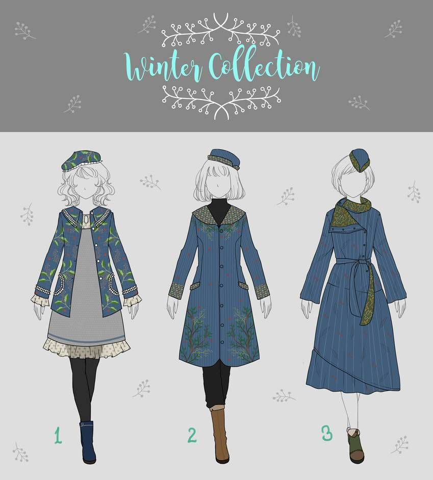 Open 2 3 Winter Outfit Collection Adoptable By Rosariy On Deviantart Anime Outfits Fashion Design Drawings Art Clothes