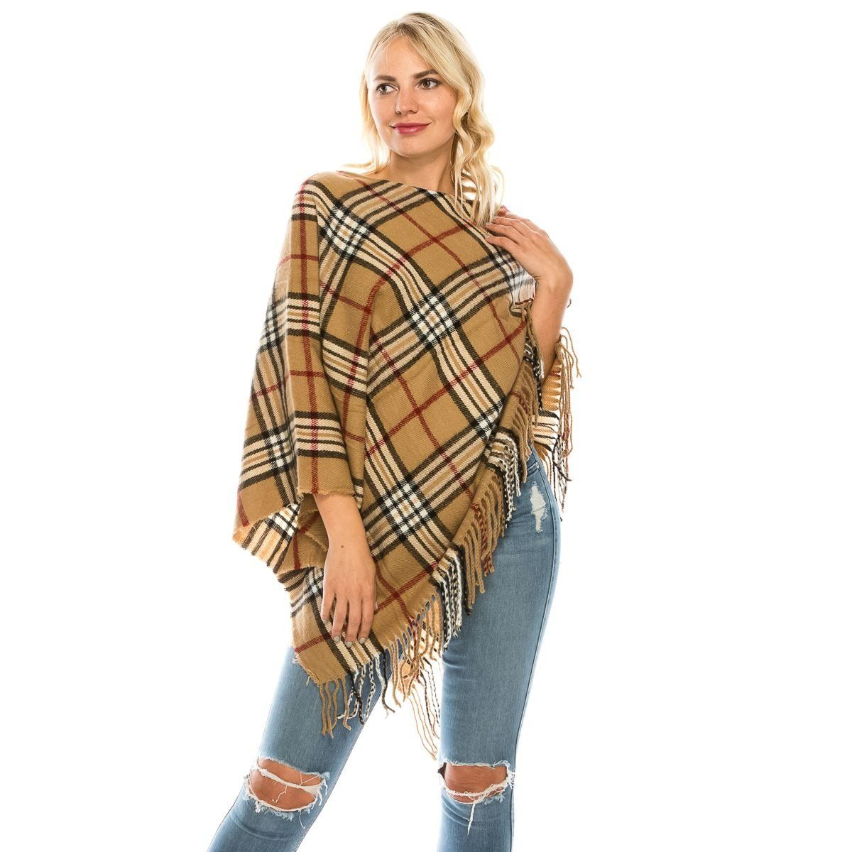 Scotish Checker Pattern Poncho - Fashion Fantasia