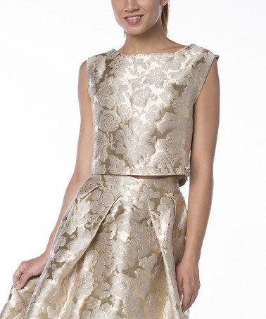 Love this Beige Linen-Blend Embossed Top on #zulily! #zulilyfinds