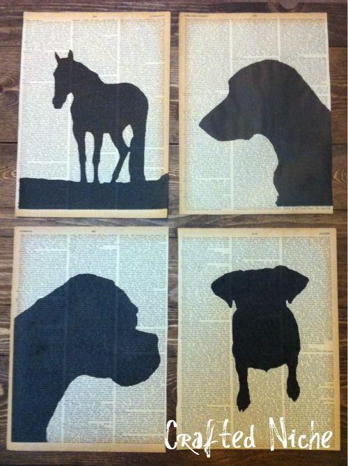 diy silhouettes on book pages basteln pinterest silhouette basteln und kunst. Black Bedroom Furniture Sets. Home Design Ideas