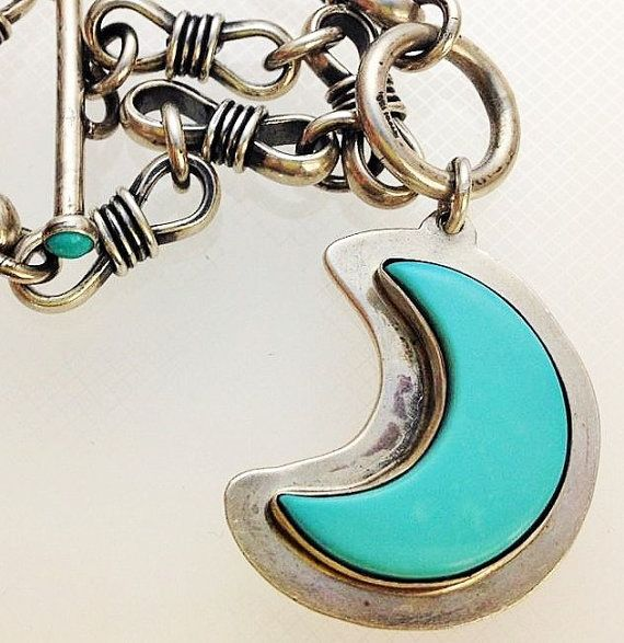 Southwest 925 Bracelet Sm Toggle Bracelet Sterling Silver Sleeping Beauty Turquoise Toggle Bracelet Charm Crescent Moon Tossed and Tarnished