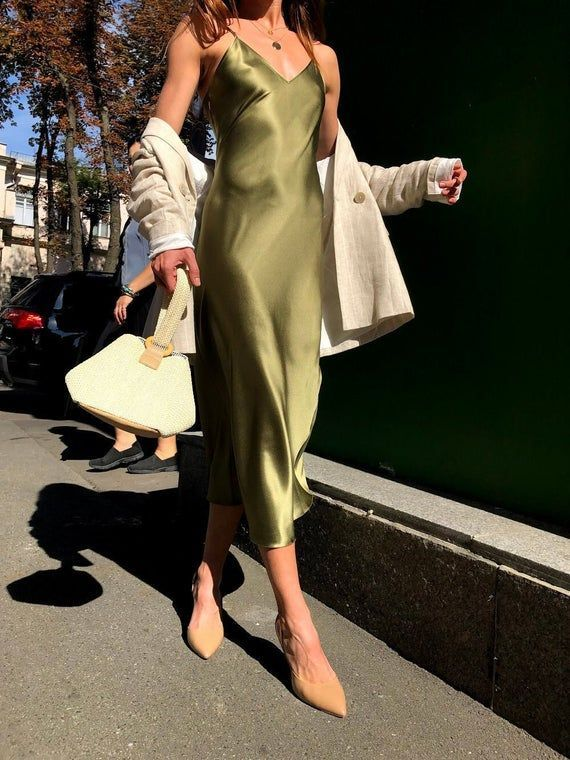 Photo of Khaki silk bias slip dress Army green silk slip dress Silk clothing Sheryl slip dress 90s Romantic d