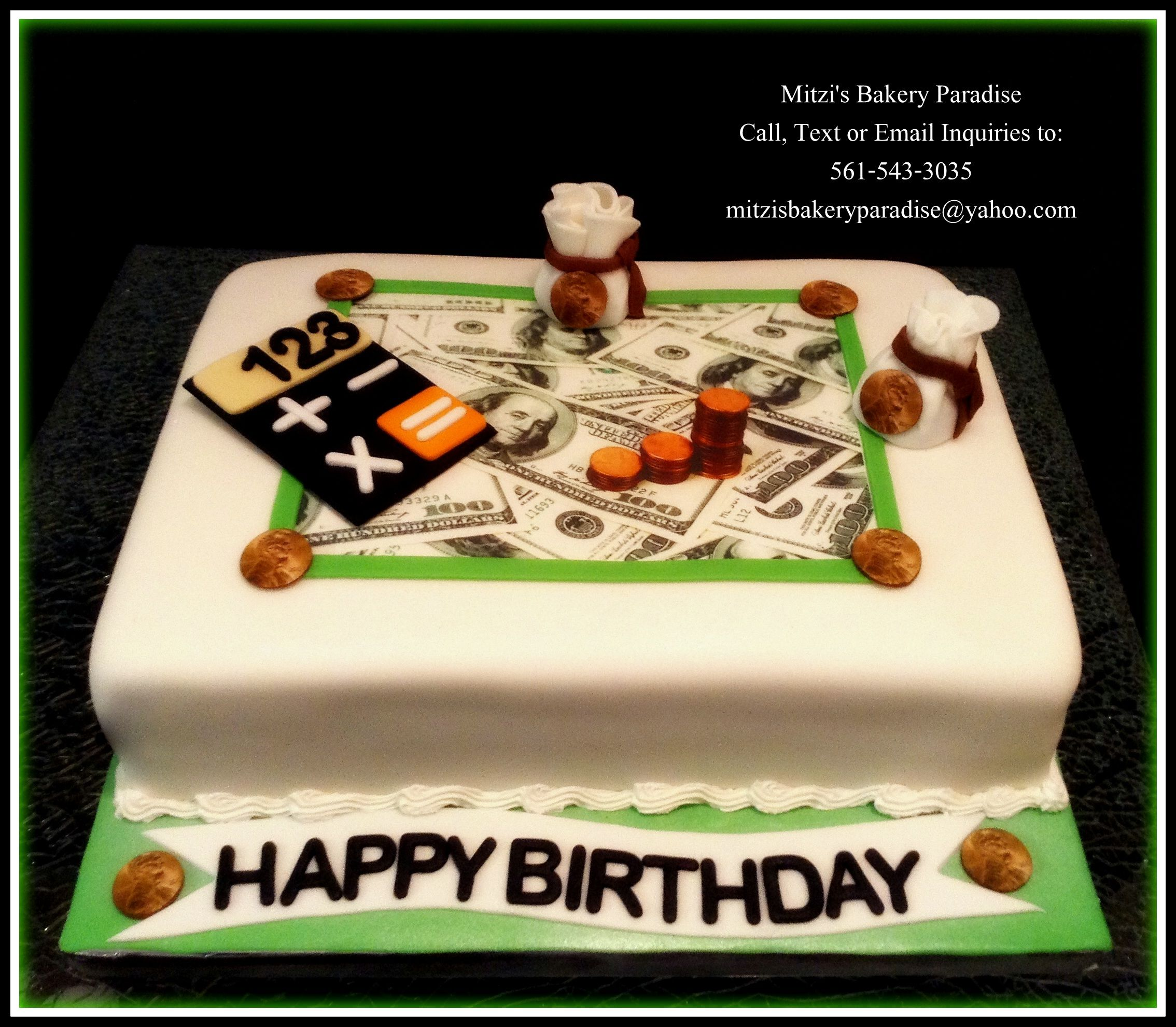 The theme of this cake is Money/Finance/Accounting ...